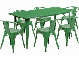Flash Furniture 31.5'' x 63'' Rectangular Green Metal Indoor-Outdoor Table Set with 6 Arm Chairs