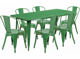 Flash Furniture 31.5'' x 63'' Rectangular Green Metal Indoor-Outdoor Table Set with 6 Stack Chairs