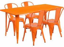 Flash Furniture 31.5'' x 63'' Rectangular Orange Metal Indoor-Outdoor Table Set with 4 Stack Chairs