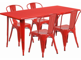Flash Furniture 31.5'' x 63'' Rectangular Red Metal Indoor-Outdoor Table Set with 4 Stack Chairs