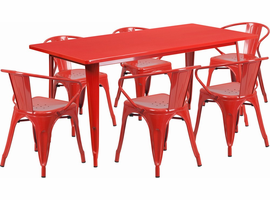 Flash Furniture 31.5'' x 63'' Rectangular Red Metal Indoor-Outdoor Table Set with 6 Arm Chairs