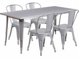 Flash Furniture 31.5'' x 63'' Rectangular Silver Metal Indoor-Outdoor Table Set with 4 Stack Chairs