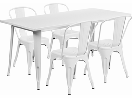 Flash Furniture 31.5'' x 63'' Rectangular White Metal Indoor-Outdoor Table Set with 4 Stack Chairs
