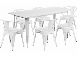 Flash Furniture 31.5'' x 63'' Rectangular White Metal Indoor-Outdoor Table Set with 6 Arm Chairs