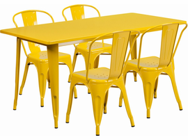 Flash Furniture 31.5'' x 63'' Rectangular Yellow Metal Indoor-Outdoor Table Set with 4 Stack Chairs