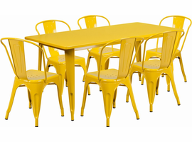 Flash Furniture 31.5'' x 63'' Rectangular Yellow Metal Indoor-Outdoor Table Set with 6 Stack Chairs