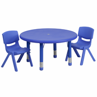 Flash Furniture 33'' Round Adjustable Blue Plastic Activity Table Set with 2 School Stack Chairs