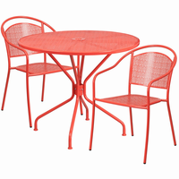 Flash Furniture 35.25'' Round Coral Indoor-Outdoor Steel Patio Table Set with 2 Round Back Chairs