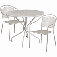 Flash Furniture 35.25'' Round Light Gray Indoor-Outdoor Steel Patio Table Set with 2 Round Back Chairs
