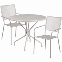 Flash Furniture 35.25'' Round Light Gray Indoor-Outdoor Steel Patio Table Set with 2 Square Back Chairs