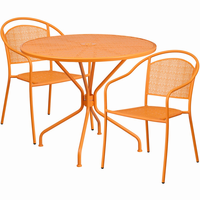 Flash Furniture 35.25'' Round Orange Indoor-Outdoor Steel Patio Table Set with 2 Round Back Chairs