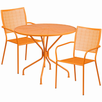 Flash Furniture 35.25'' Round Orange Indoor-Outdoor Steel Patio Table Set with 2 Square Back Chairs