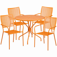 Flash Furniture 35.25'' Round Orange Indoor-Outdoor Steel Patio Table Set with 4 Square Back Chairs