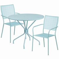 Flash Furniture 35.25'' Round Sky Blue Indoor-Outdoor Steel Patio Table Set with 2 Square Back Chairs