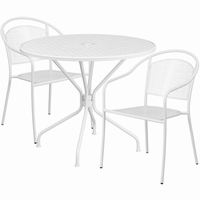 Flash Furniture 35.25'' Round White Indoor-Outdoor Steel Patio Table Set with 2 Round Back Chairs