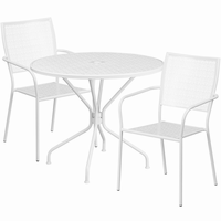 Flash Furniture 35.25'' Round White Indoor-Outdoor Steel Patio Table Set with 2 Square Back Chairs