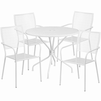 Flash Furniture 35.25'' Round White Indoor-Outdoor Steel Patio Table Set with 4 Square Back Chairs