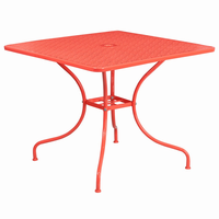 Flash Furniture 35.5'' Square Coral Indoor-Outdoor Steel Patio Table