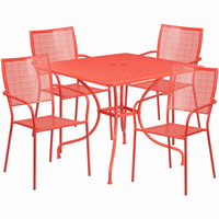 Flash Furniture 35.5'' Square Coral Indoor-Outdoor Steel Patio Table Set with 4 Square Back Chairs