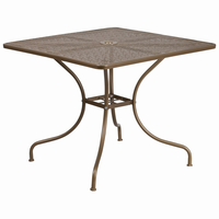 Flash Furniture 35.5'' Square Gold Indoor-Outdoor Steel Patio Table