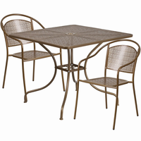 Flash Furniture 35.5'' Square Gold Indoor-Outdoor Steel Patio Table Set with 2 Round Back Chairs