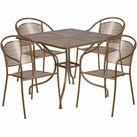 Flash Furniture 35.5'' Square Gold Indoor-Outdoor Steel Patio Table Set with 4 Round Back Chairs