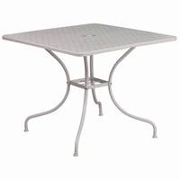 Flash Furniture 35.5'' Square Light Gray Indoor-Outdoor Steel Patio Table