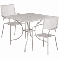 Flash Furniture 35.5'' Square Light Gray Indoor-Outdoor Steel Patio Table Set with 2 Square Back Chairs