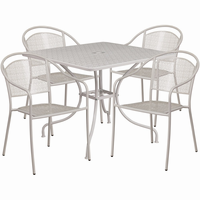 Flash Furniture 35.5'' Square Light Gray Indoor-Outdoor Steel Patio Table Set with 4 Round Back Chairs