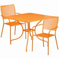 Flash Furniture 35.5'' Square Orange Indoor-Outdoor Steel Patio Table Set with 2 Square Back Chairs