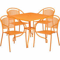 Flash Furniture 35.5'' Square Orange Indoor-Outdoor Steel Patio Table Set with 4 Round Back Chairs