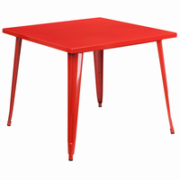 Flash Furniture 35.5'' Square Red Metal Indoor-Outdoor Table