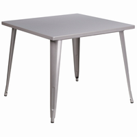 Flash Furniture 35.5'' Square Silver Metal Indoor-Outdoor Table
