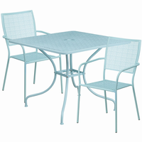Flash Furniture 35.5'' Square Sky Blue Indoor-Outdoor Steel Patio Table Set with 2 Square Back Chairs