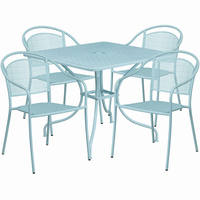 Flash Furniture 35.5'' Square Sky Blue Indoor-Outdoor Steel Patio Table Set with 4 Round Back Chairs
