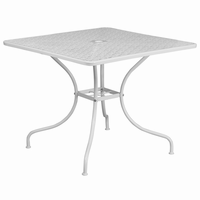 Flash Furniture 35.5'' Square White Indoor-Outdoor Steel Patio Table