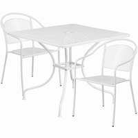 Flash Furniture 35.5'' Square White Indoor-Outdoor Steel Patio Table Set with 2 Round Back Chairs