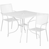 Flash Furniture 35.5'' Square White Indoor-Outdoor Steel Patio Table Set with 2 Square Back Chairs
