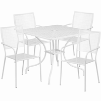 Flash Furniture 35.5'' Square White Indoor-Outdoor Steel Patio Table Set with 4 Square Back Chairs