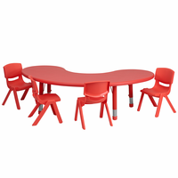 Flash Furniture 35''W x 65''L Adjustable Half-Moon Red Plastic Activity Table Set with 4 School Stack Chairs
