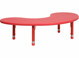 Flash Furniture 35''W x 65''L Height Adjustable Half-Moon Red Plastic Activity Table