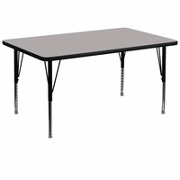 Flash Furniture 36''W x 72''L Rectangular Activity Table with 1.25'' Thick High Pressure Grey Laminate Top and Height Adjustable Preschool Legs
