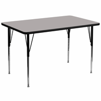 Flash Furniture 36''W x 72''L Rectangular Activity Table with 1.25'' Thick High Pressure Grey Laminate Top and Standard Height Adjustable Legs