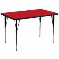 Flash Furniture 36''W x 72''L Rectangular Activity Table with 1.25'' Thick High Pressure Red Laminate Top and Standard Height Adjustable Legs
