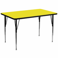 Flash Furniture 36''W x 72''L Rectangular Activity Table with 1.25'' Thick High Pressure Yellow Laminate Top and Standard Height Adjustable Legs