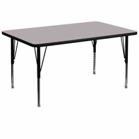 Flash Furniture 36''W x 72''L Rectangular Activity Table with Grey Thermal Fused Laminate Top and Height Adjustable Preschool Legs