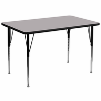 Flash Furniture 36''W x 72''L Rectangular Activity Table with Grey Thermal Fused Laminate Top and Standard Height Adjustable Legs