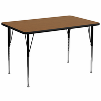 Flash Furniture 36''W x 72''L Rectangular Activity Table with Oak Thermal Fused Laminate Top and Standard Height Adjustable Legs