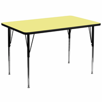 Flash Furniture 36''W x 72''L Rectangular Activity Table with Yellow Thermal Fused Laminate Top and Standard Height Adjustable Legs