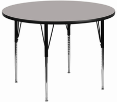 Flash Furniture 42'' Round Activity Table with 1.25'' Thick High Pressure Grey Laminate Top and Standard Height Adjustable Legs